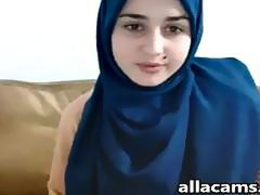 Cute Arabian slut shows her natural tits on webcam solo